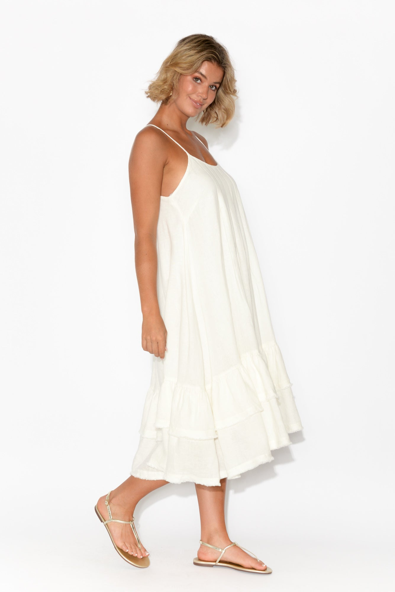 Potenza White Linen Ruffle Dress