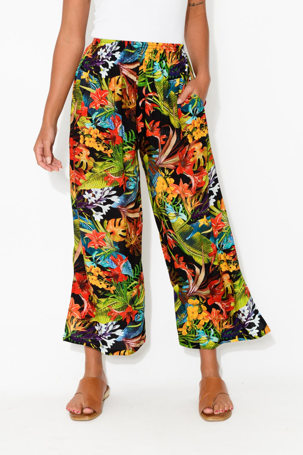 Prue Black Tropical Wide Leg Pant