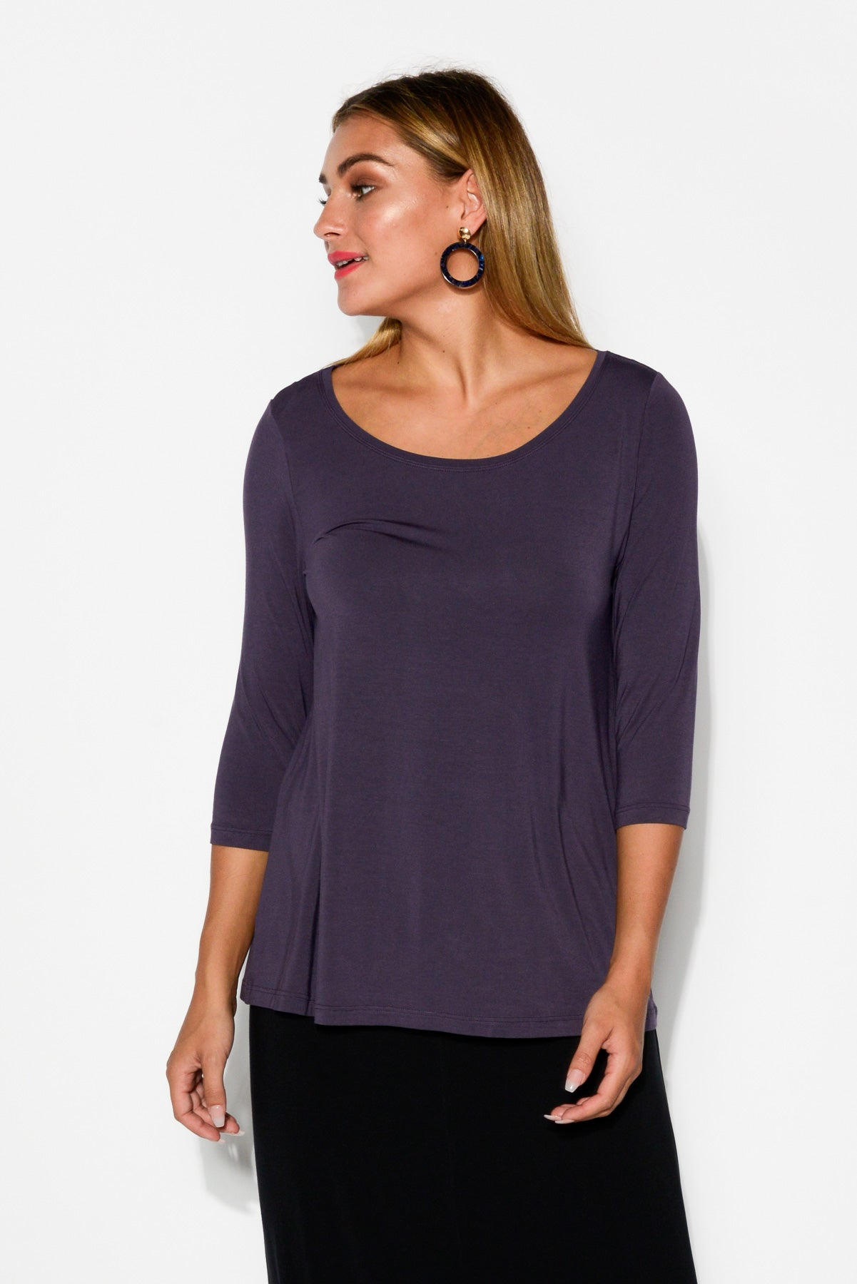 Purple 3/4 Sleeve Modal Swing Top - Blue Bungalow