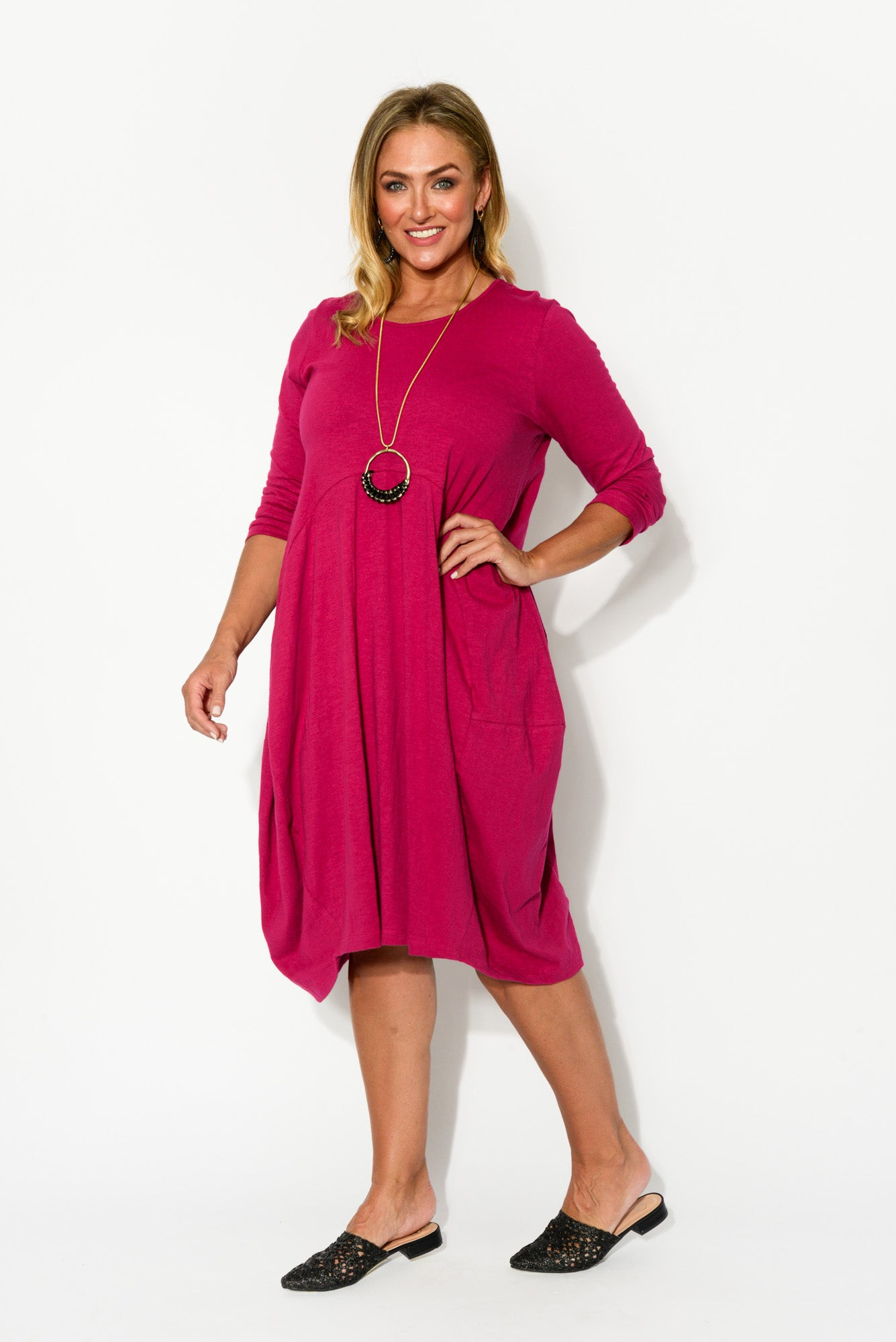 Pink Balloon Cotton Dress - Blue Bungalow
