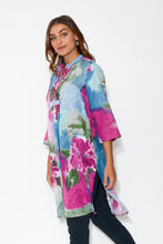 Purple Peony Sleeved Cotton Tunic - Blue Bungalow