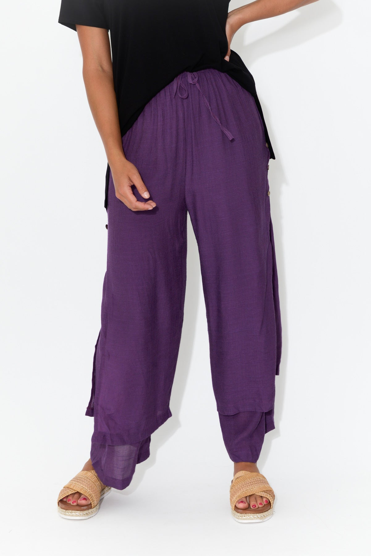 Purple Layered Wide Leg Pant