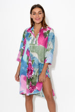 Purple Peony Sleeved Cotton Tunic