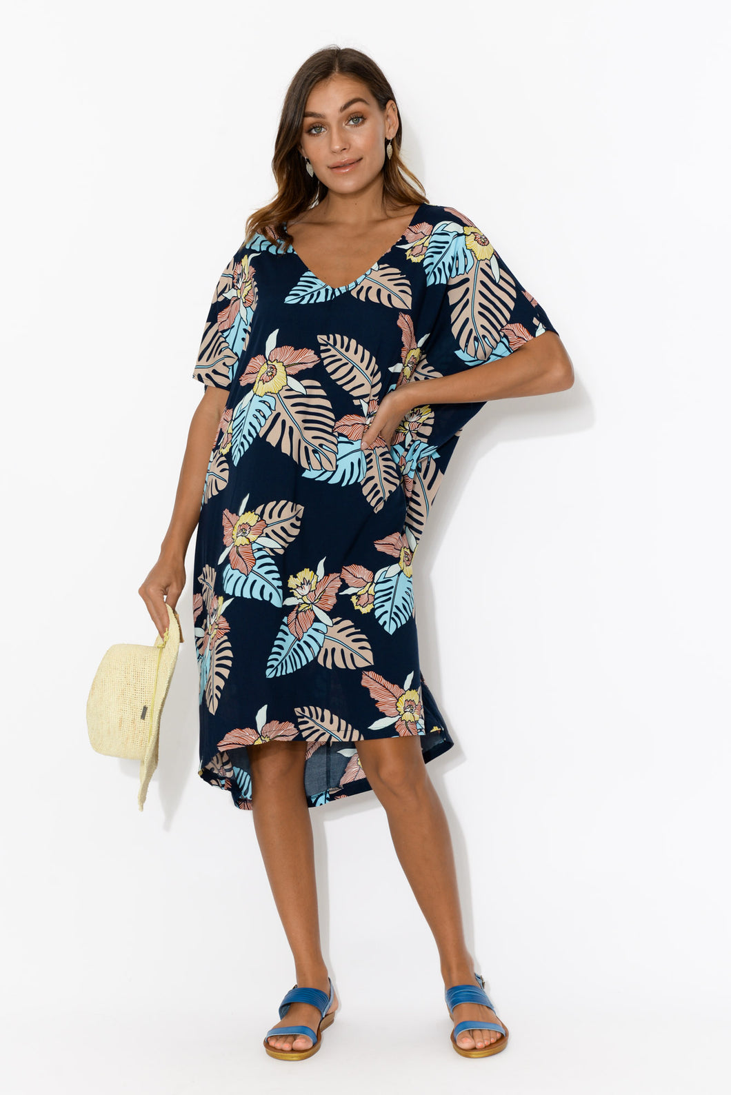 Quinn Dark Navy Tropical Kaftan