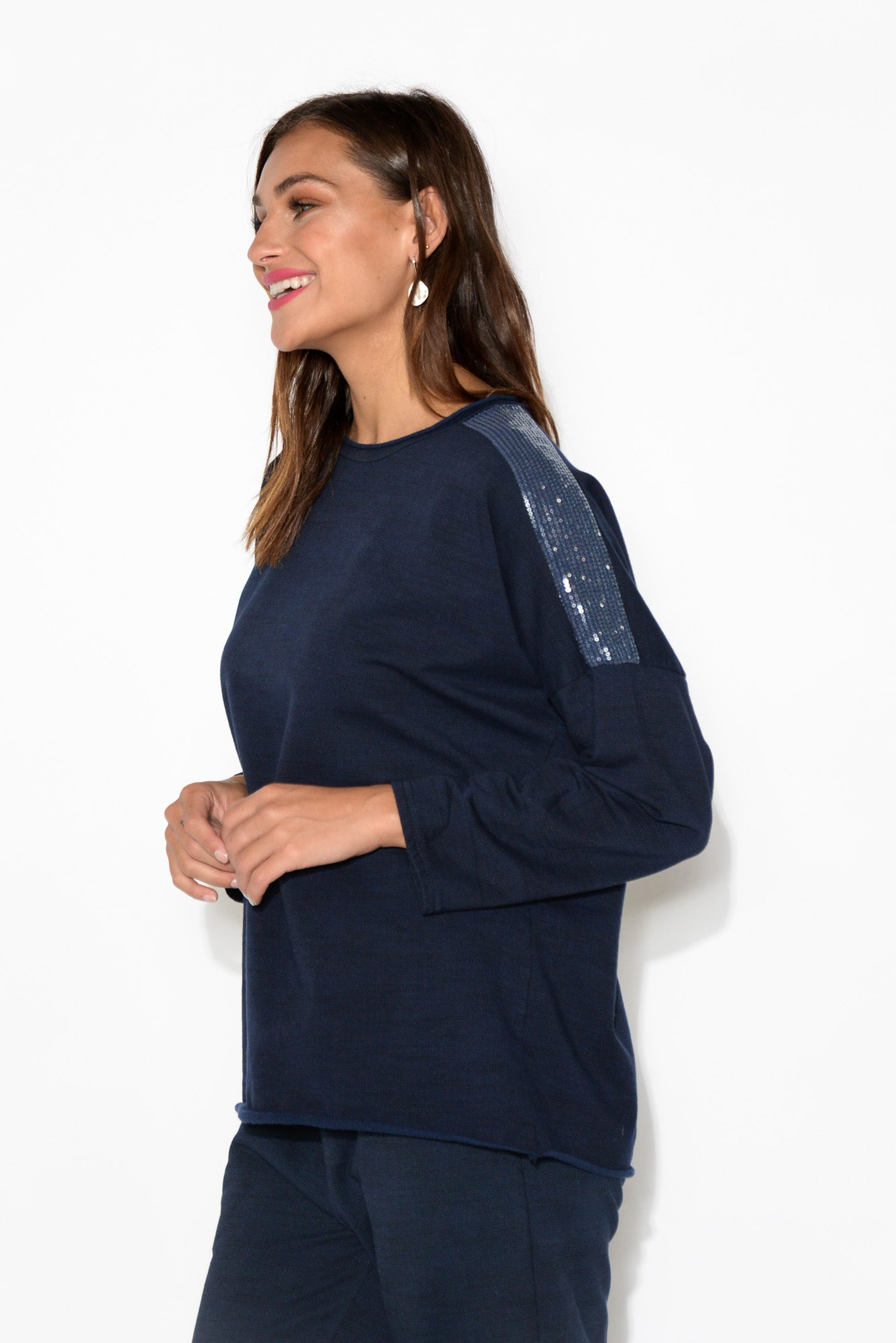 Raphaela Navy Sequin Embellished Top