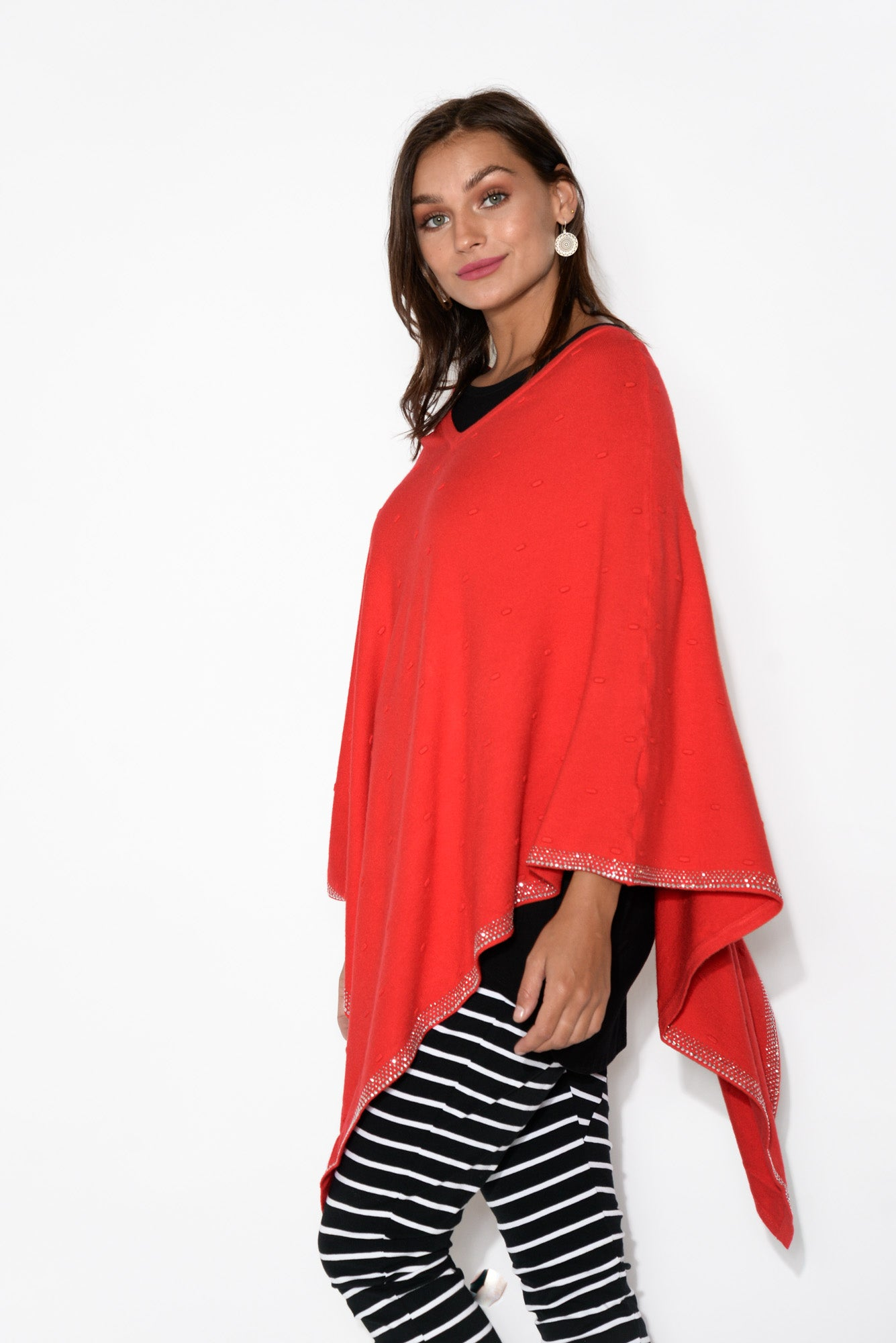 Red Embellished Hem Poncho