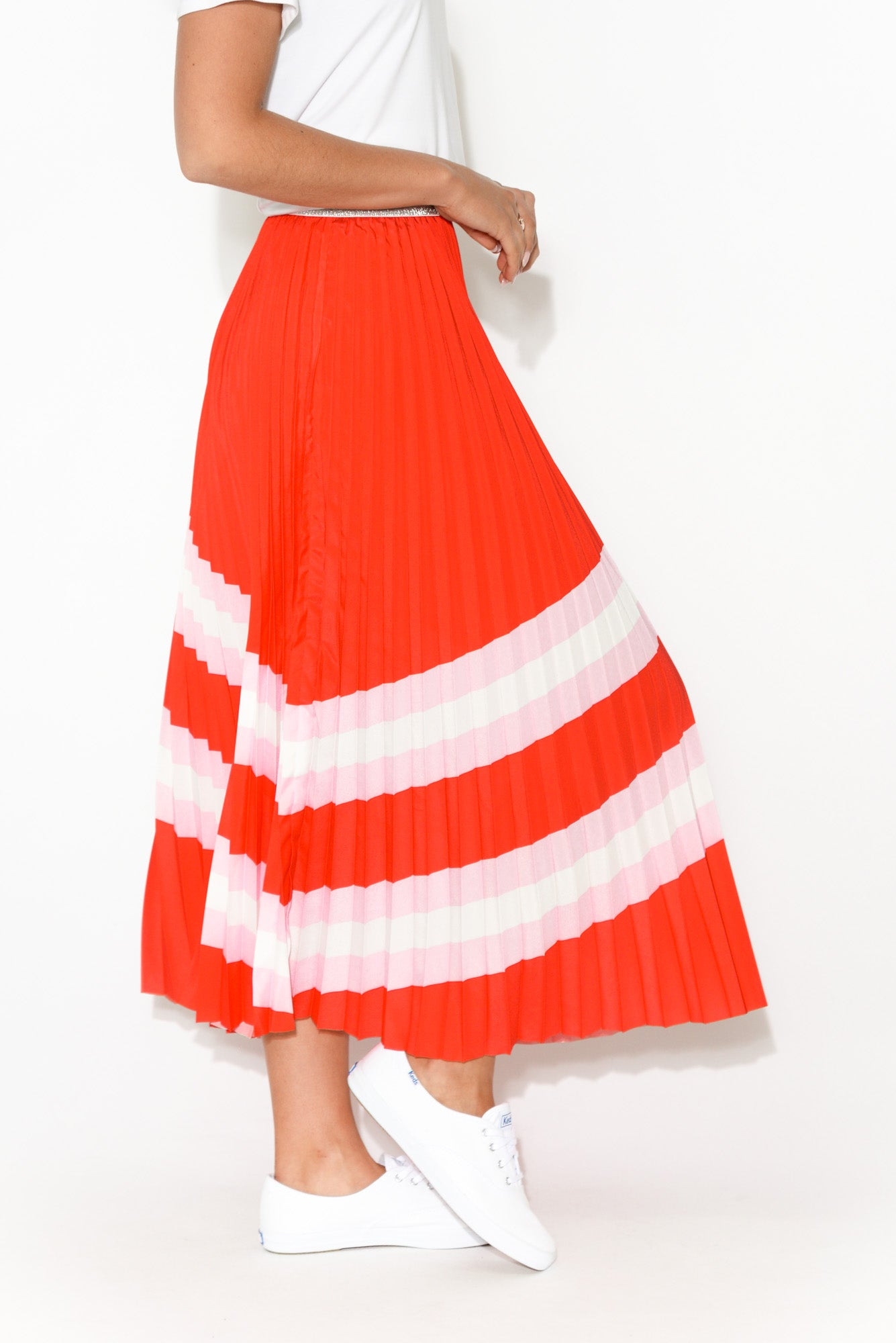 Sunray Red Pleated Midi Skirt