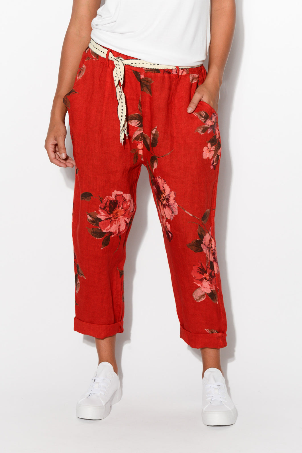 Red Floral Linen Pant - Blue Bungalow
