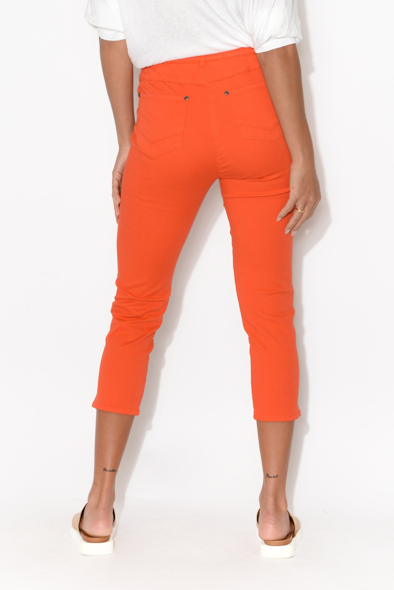 Reed Coral Stretch Cotton Capri Pant