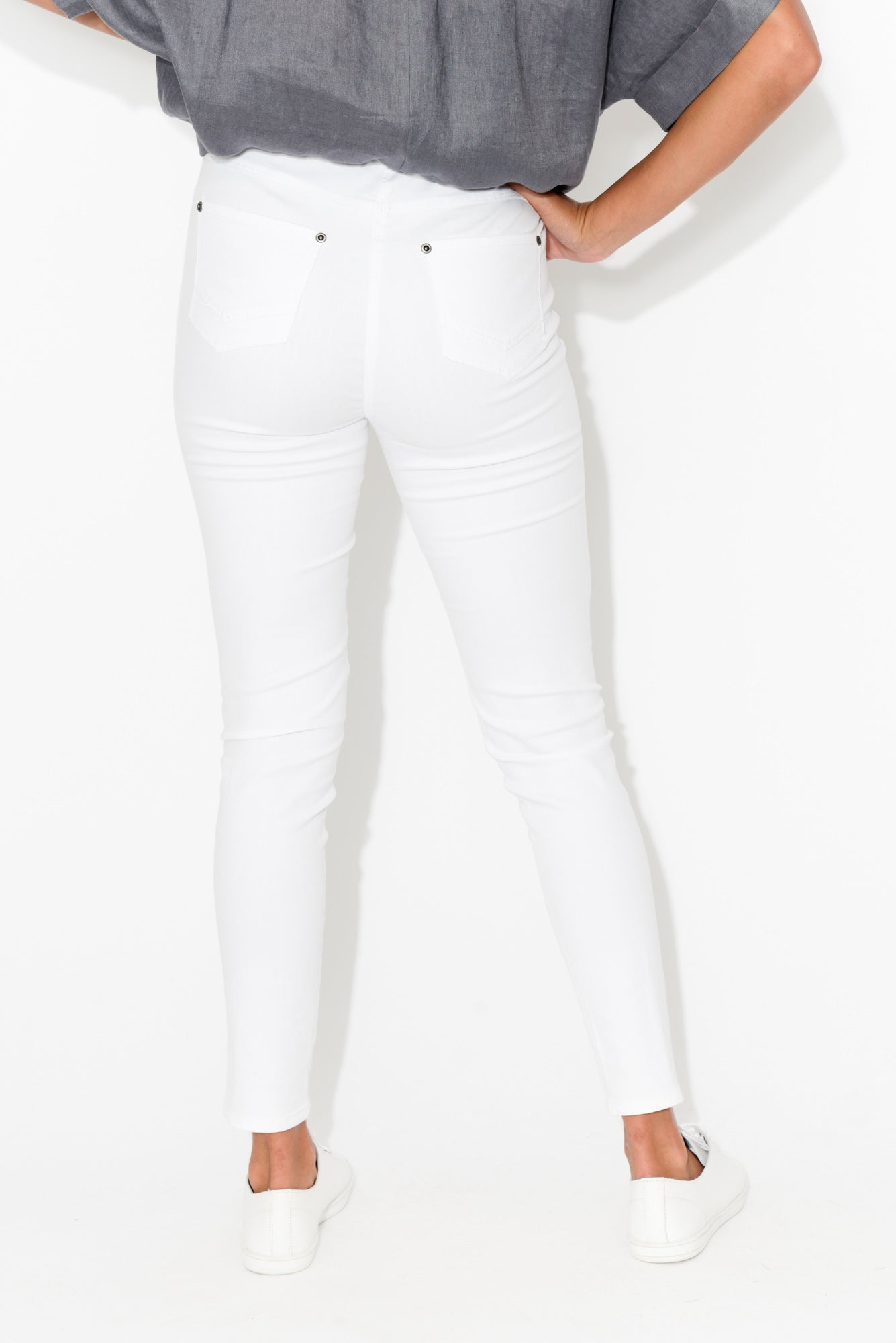 Reed White Stretch Cotton Pant