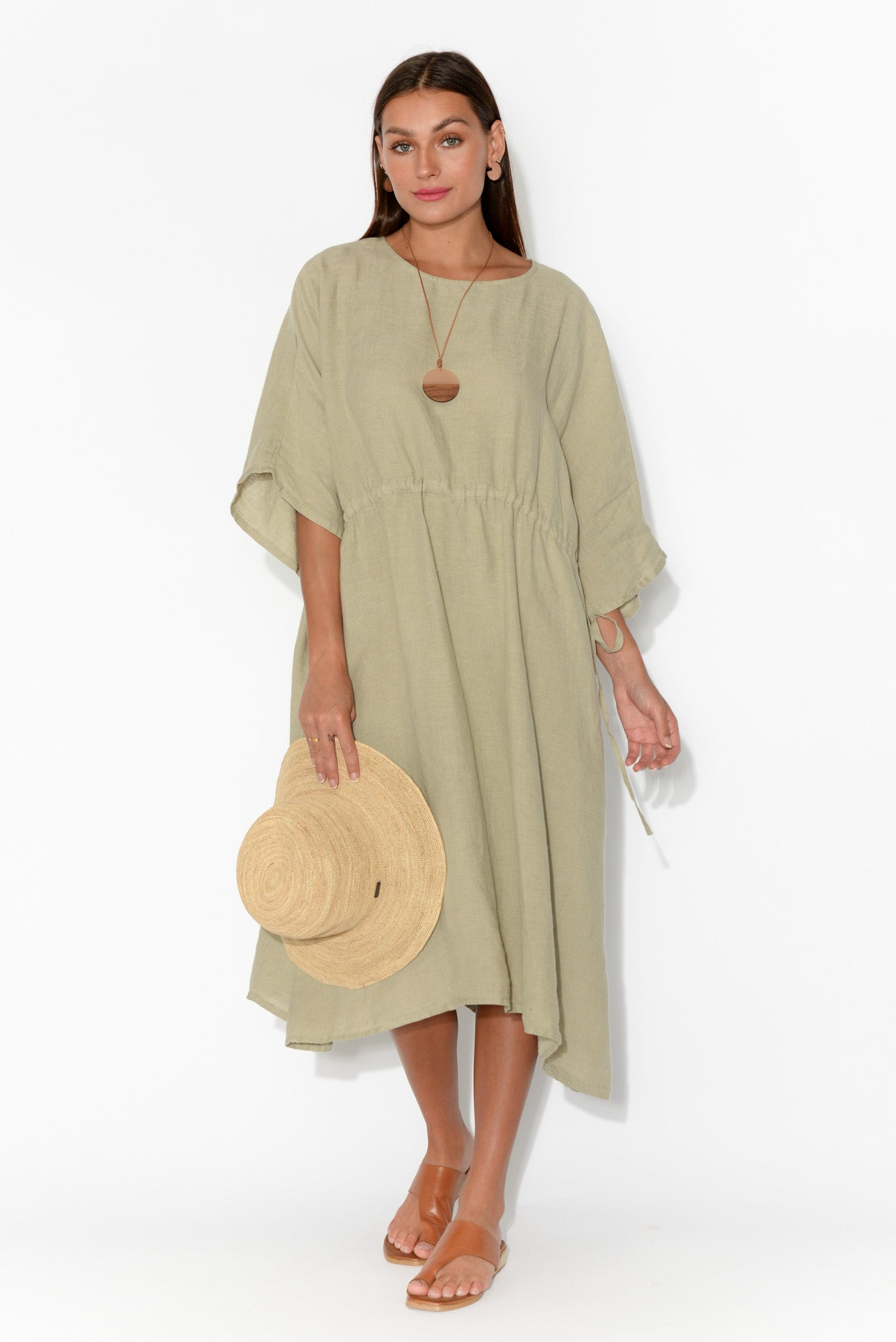 Remo Natural Linen Batwing Dress