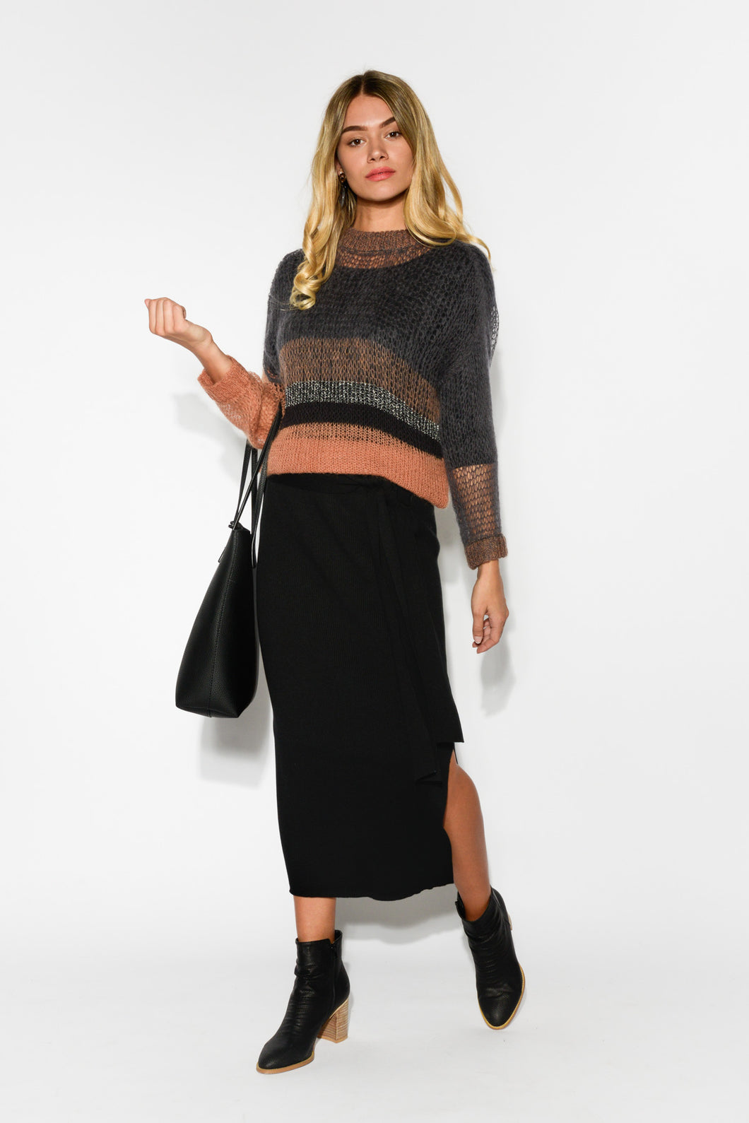Renegade Black Knit Skirt - Blue Bungalow