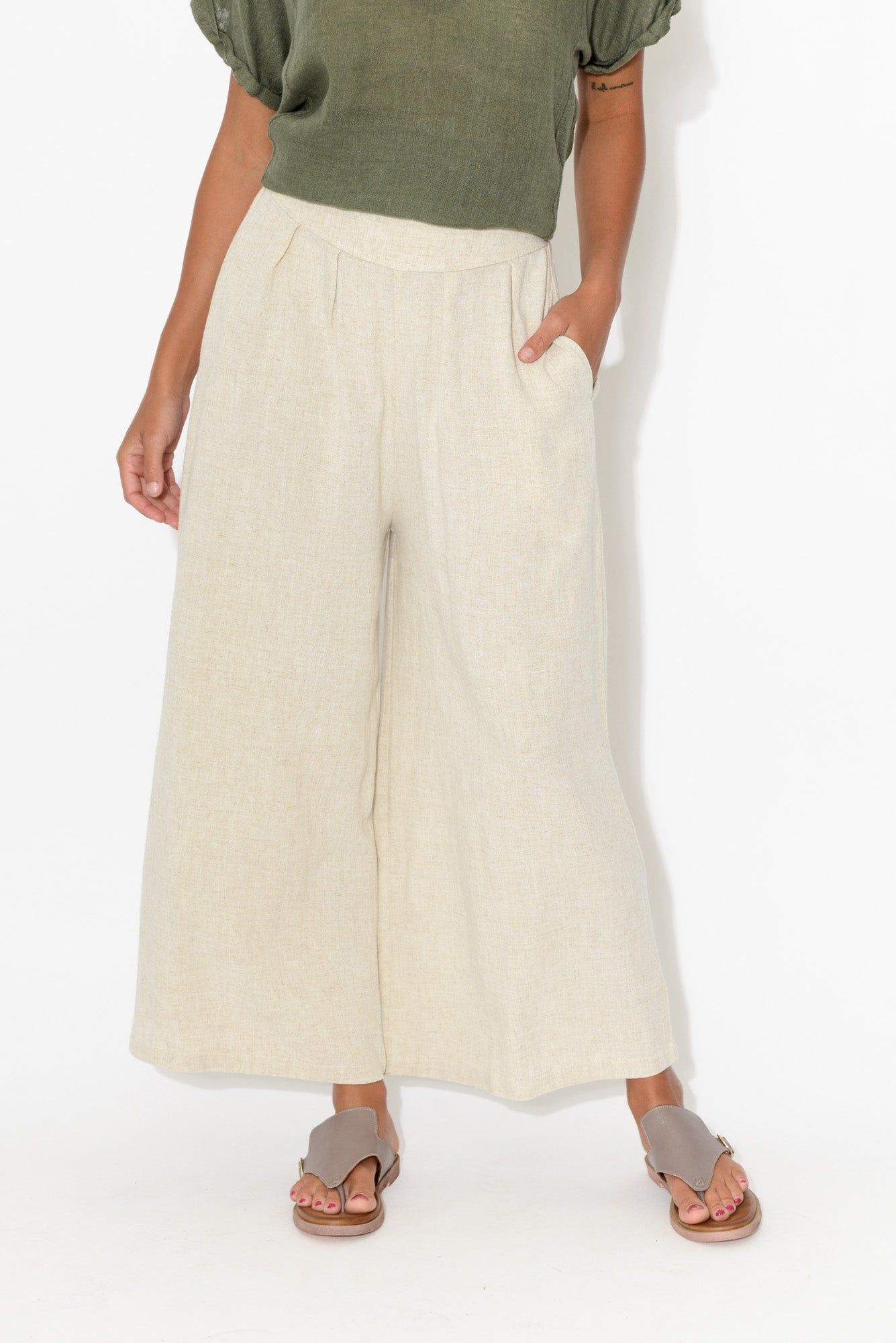 Resort Beige Wide Leg Pant