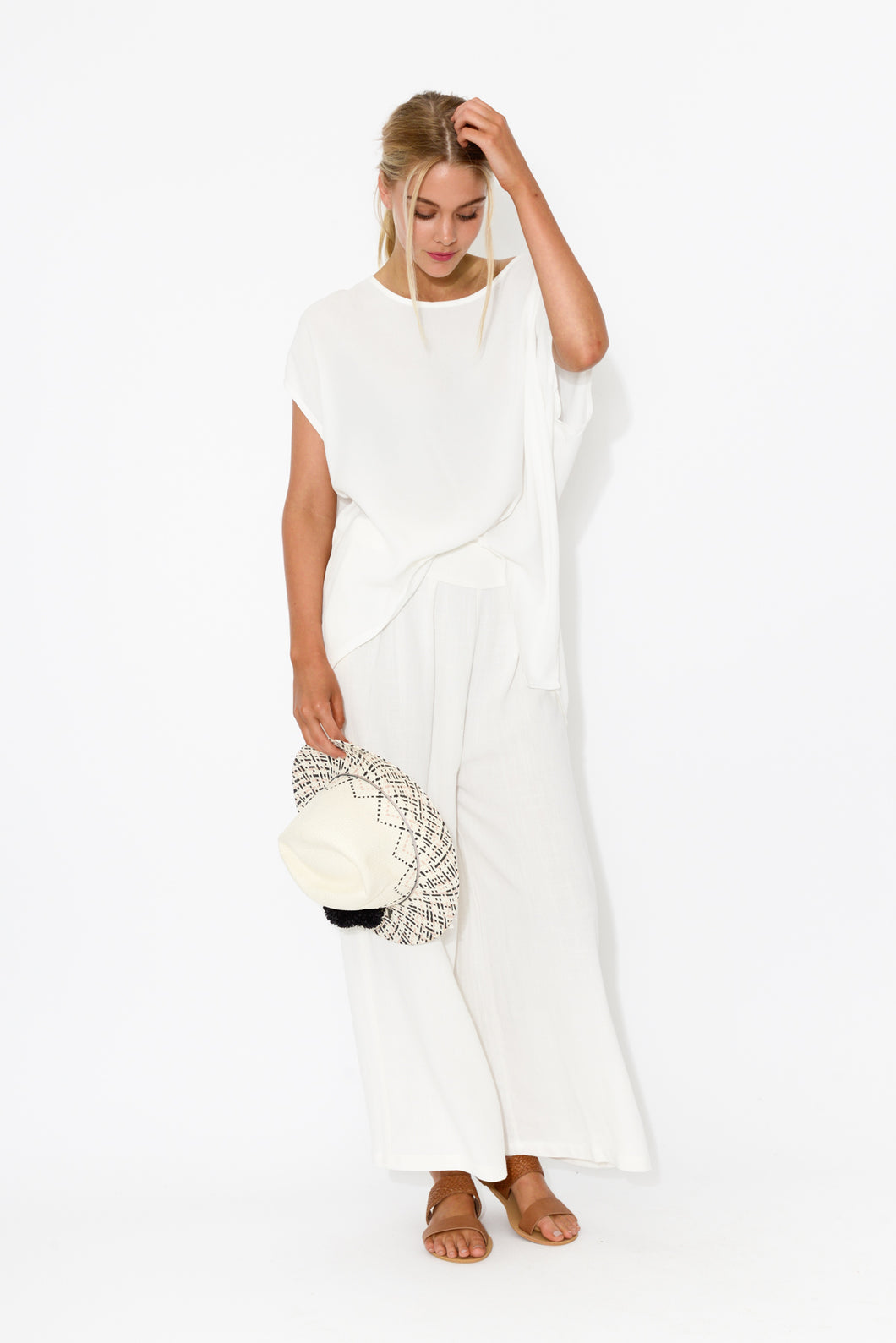 Resort White Wide Leg Pant - Blue Bungalow