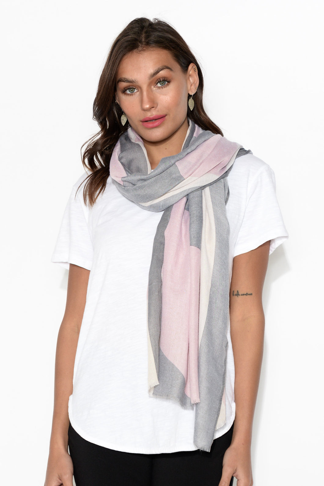 Rhea Pink and Grey Rectangle Scarf