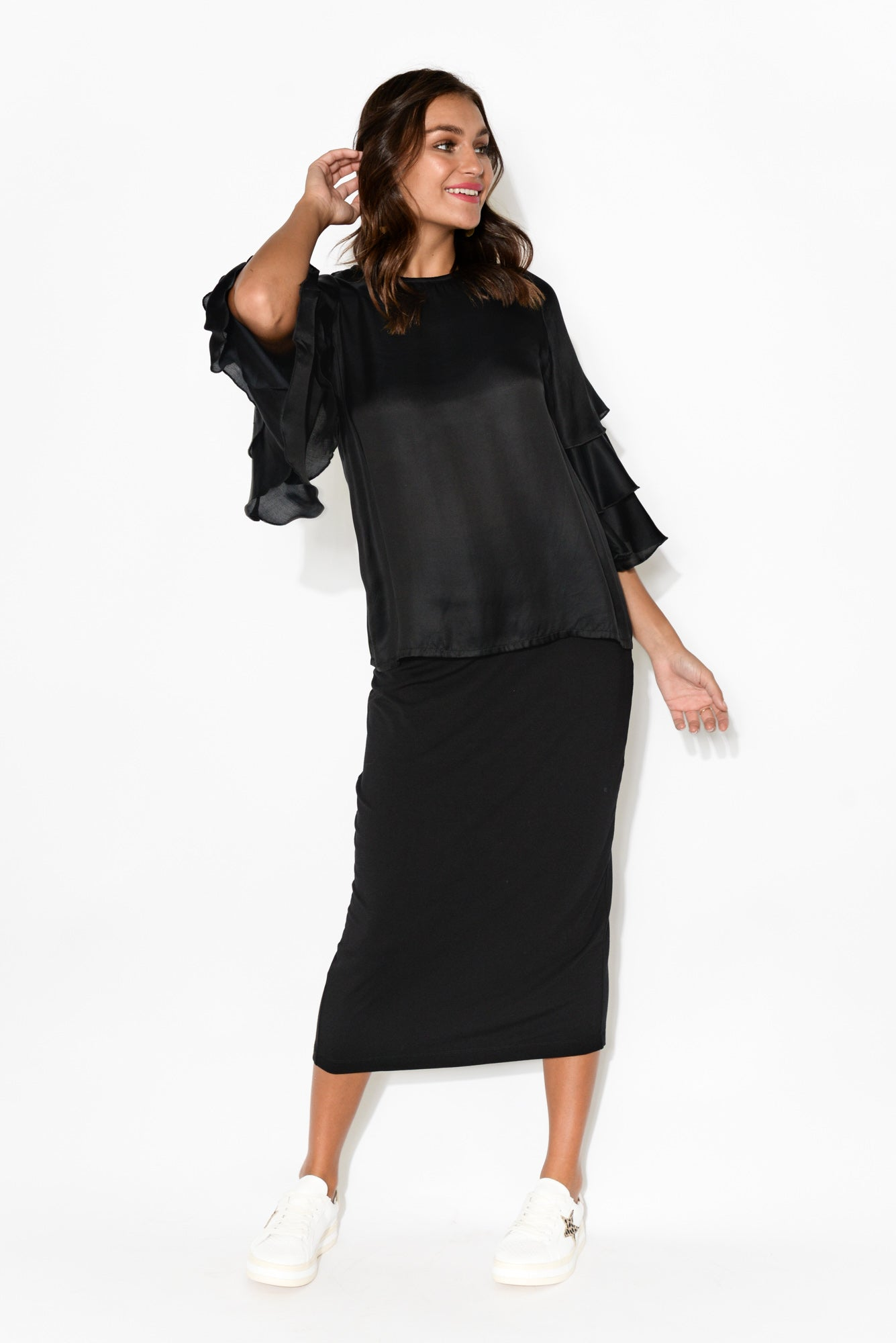 Rimini Black Ruffle Sleeve Top