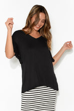 Ripon Black Frill Sleeve Top