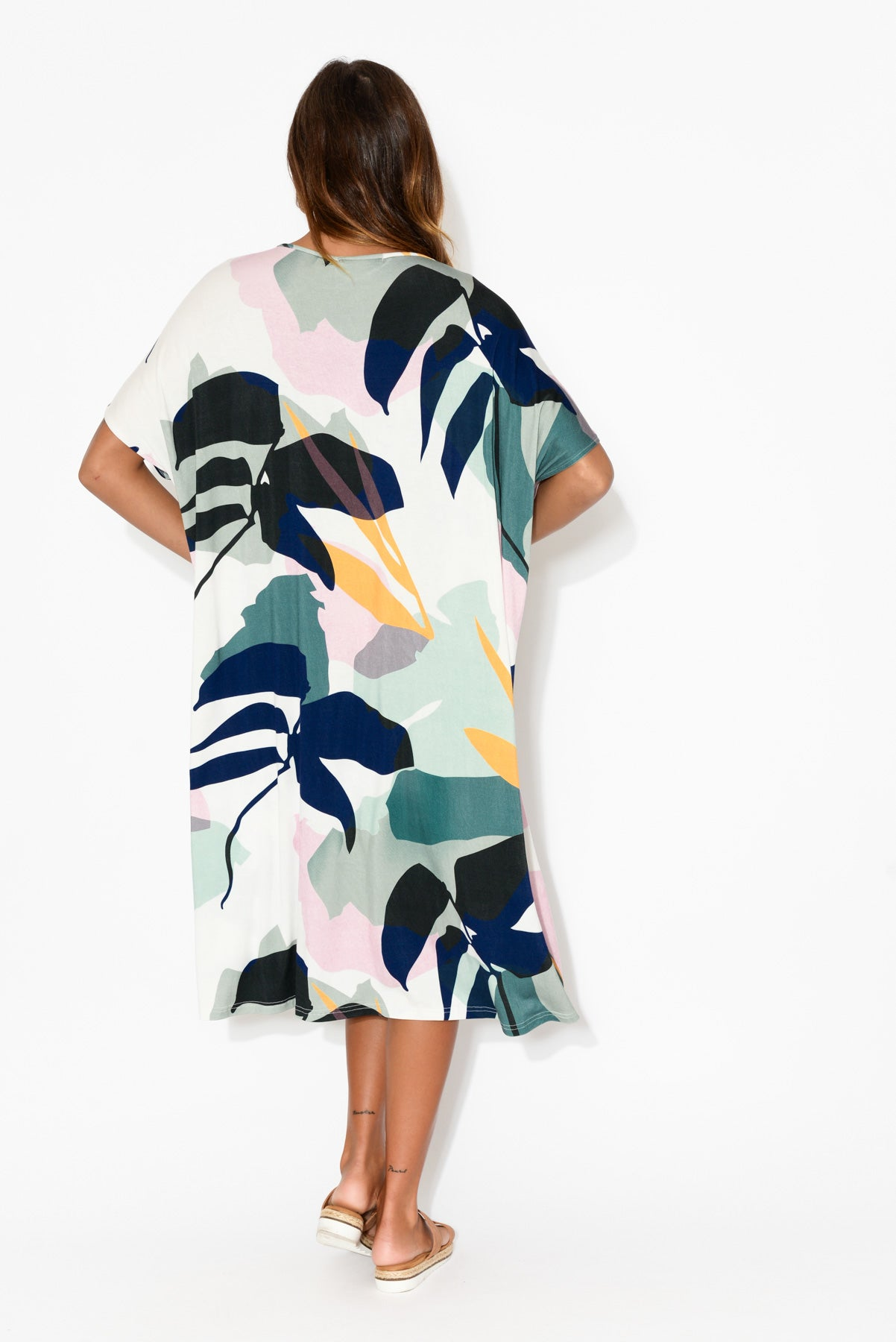 Rosie Blue Tropical  Bamboo Tie Dress