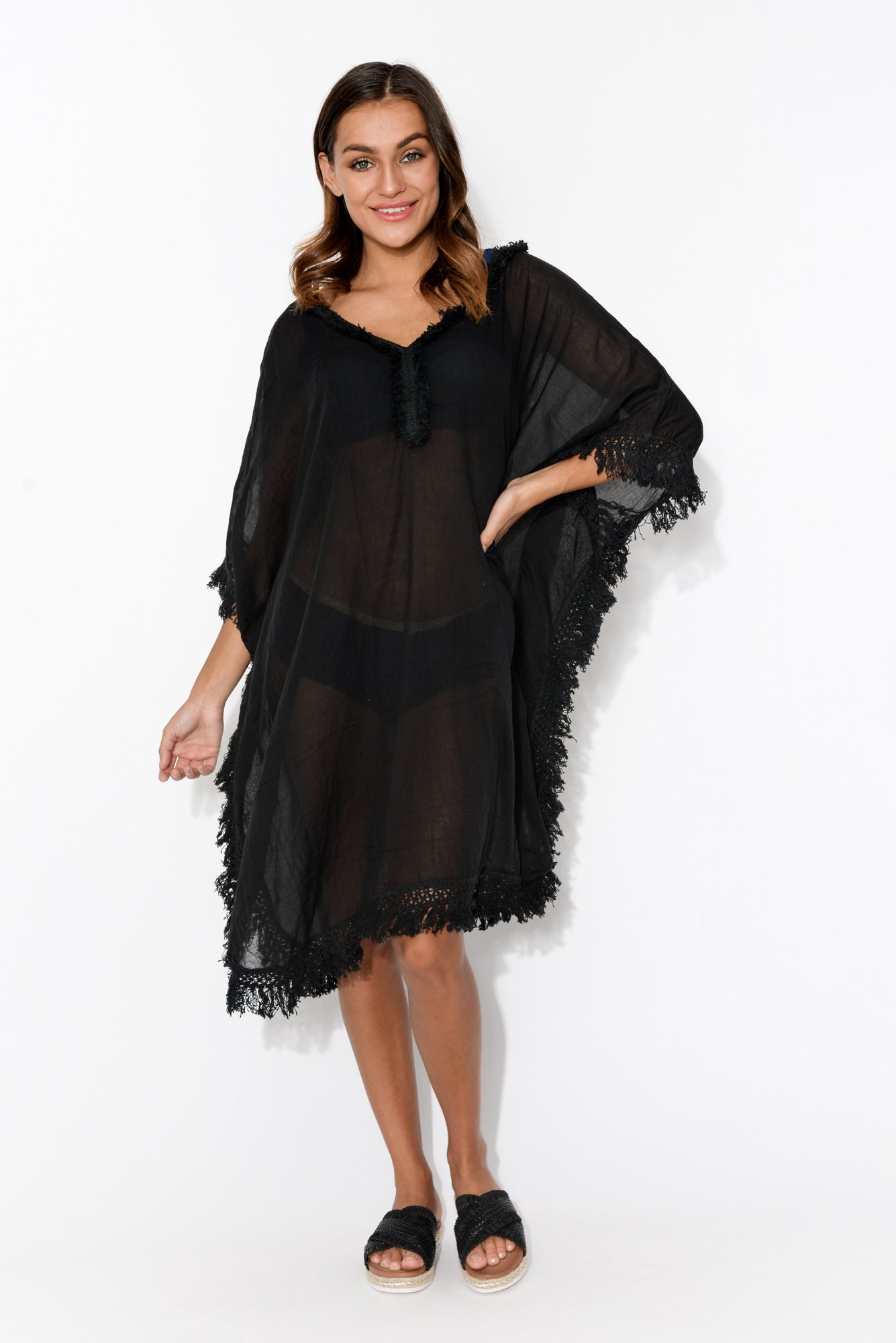 Ross Black Fringed Cotton Kaftan