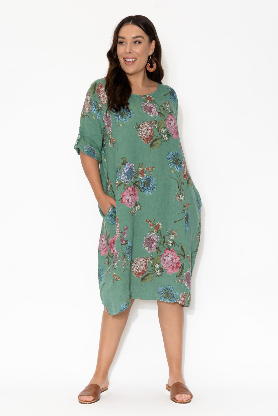 Rowen Teal Wildflower Linen Dress