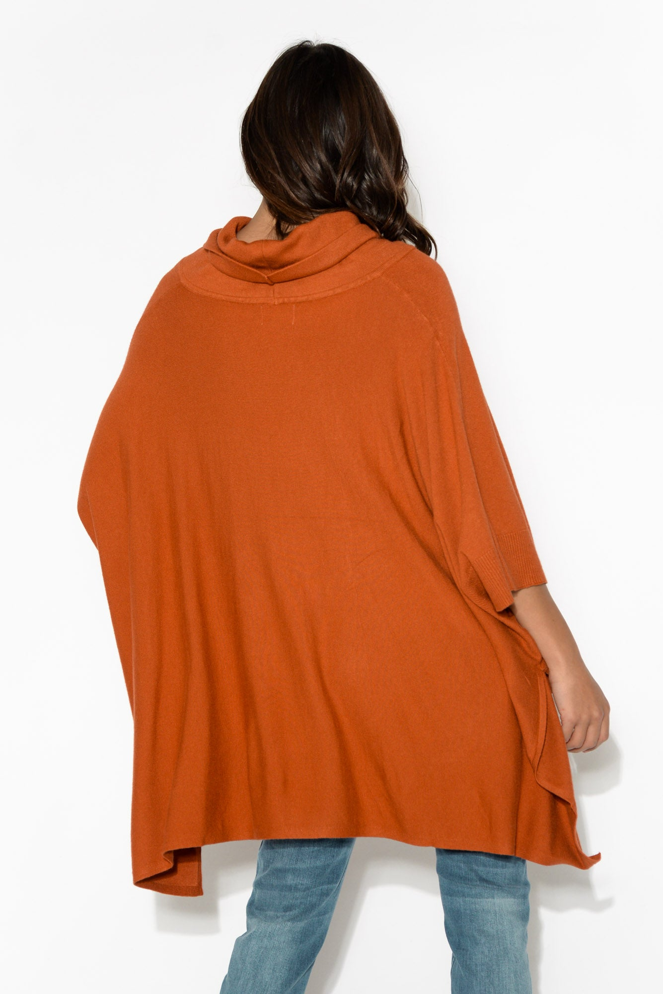 Rust Ribbed Turtleneck Poncho