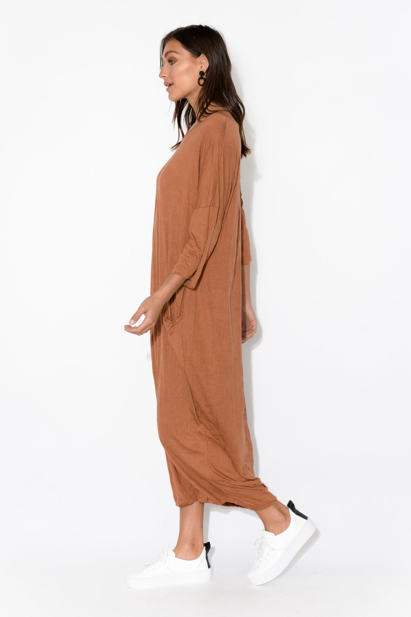 Rust Sleeved Pocket Cotton Dress