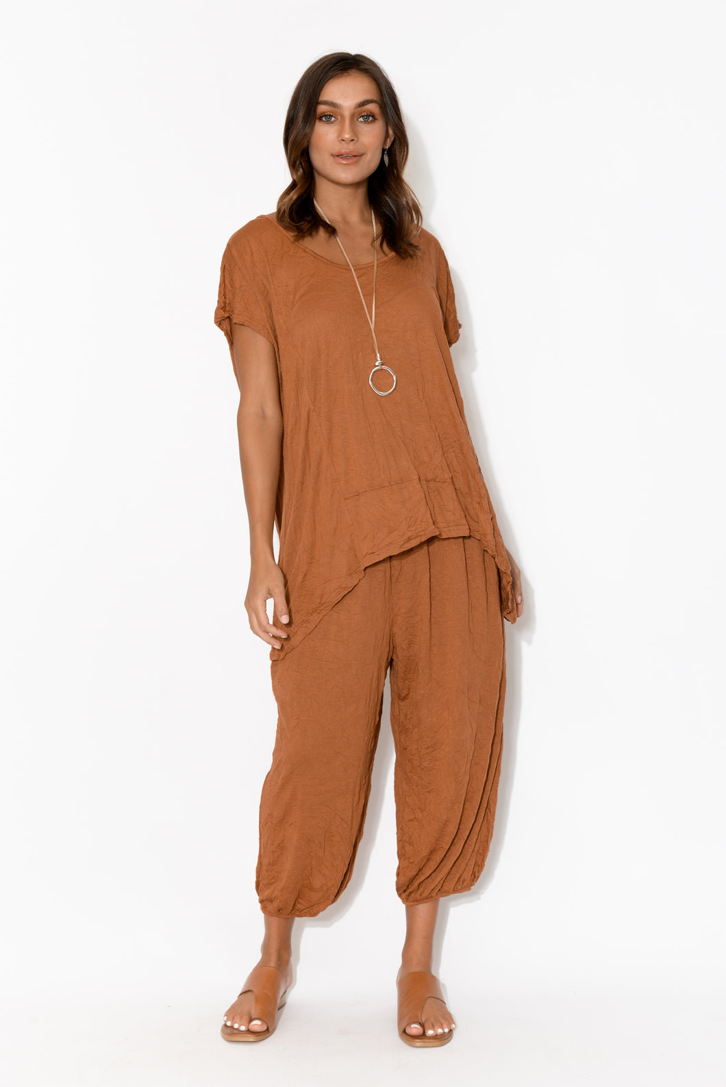 Rust Crinkle Cotton Cropped Pant