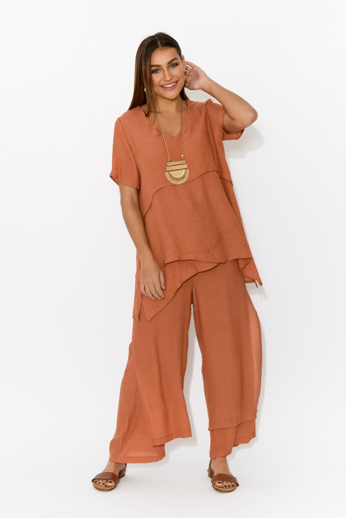 Rust Layered Wide Leg Pant - Blue Bungalow