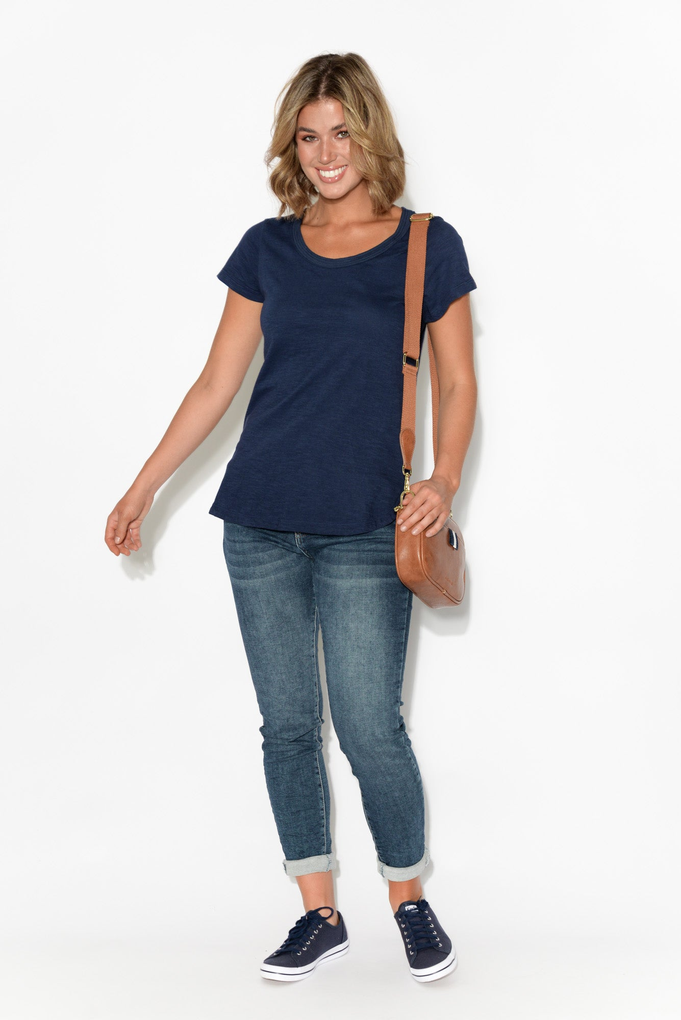 Ruth Navy Round Neck Cotton Tee