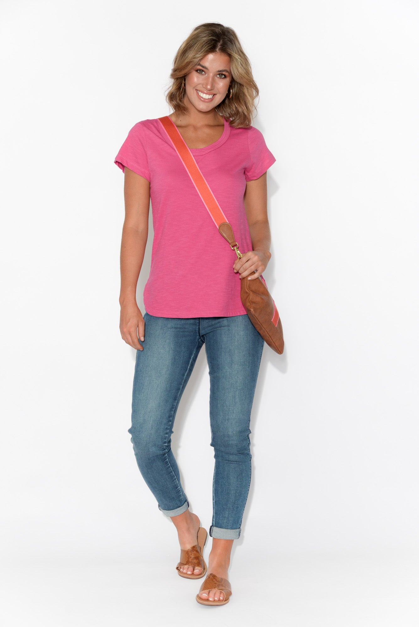 Ruth Pink Round Neck Cotton Tee