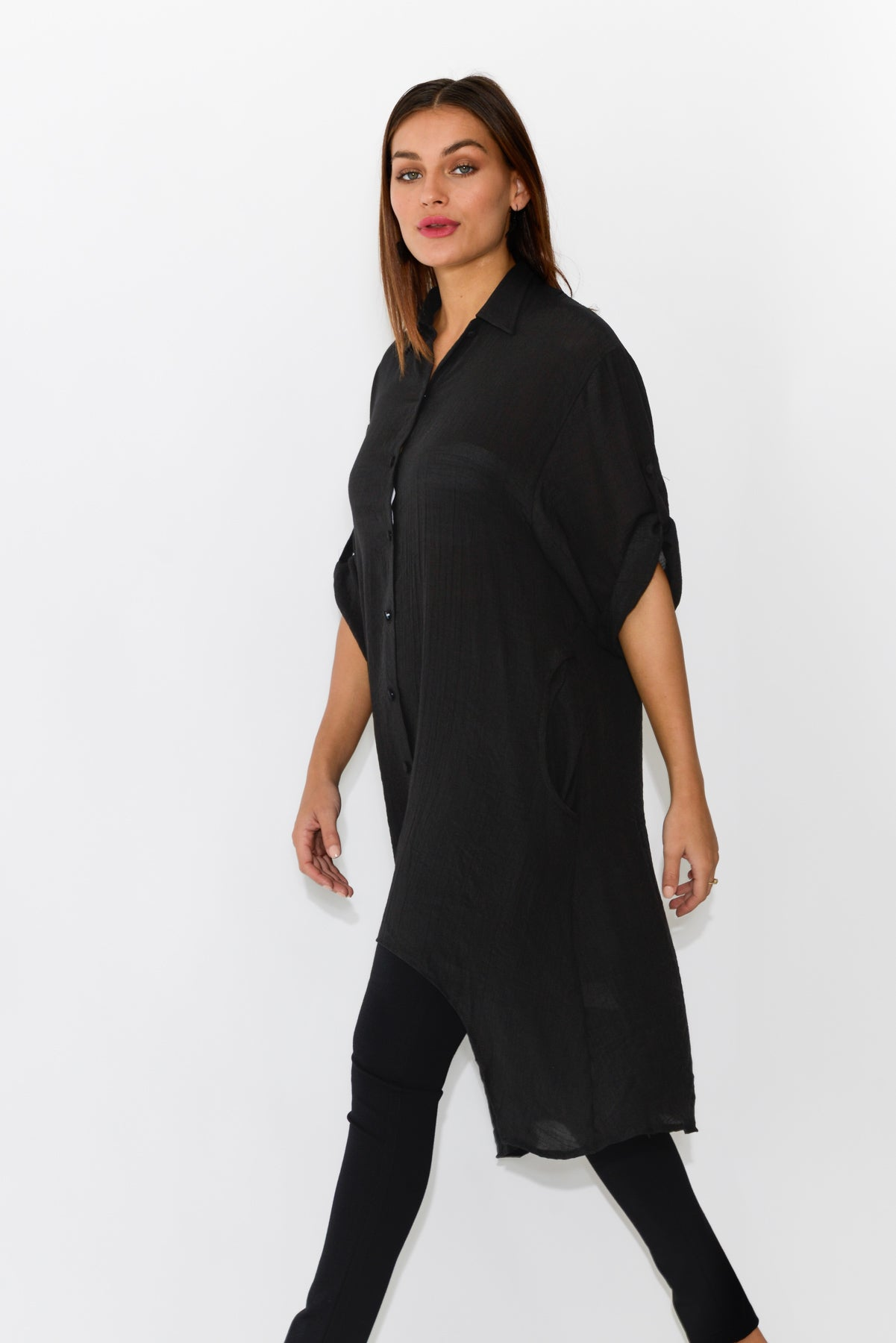 Ruth Black Button Up Shirt - Blue Bungalow
