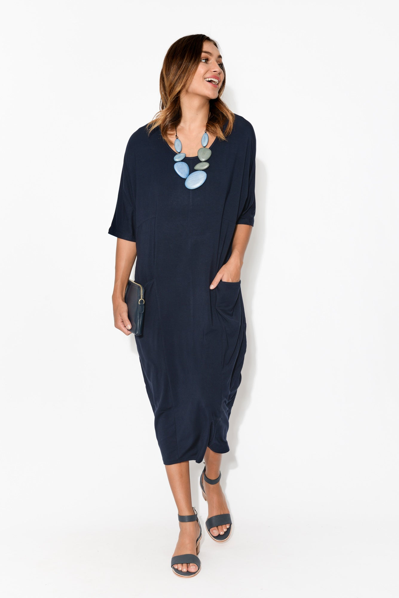 Ryan Navy Bamboo Pocket Dress