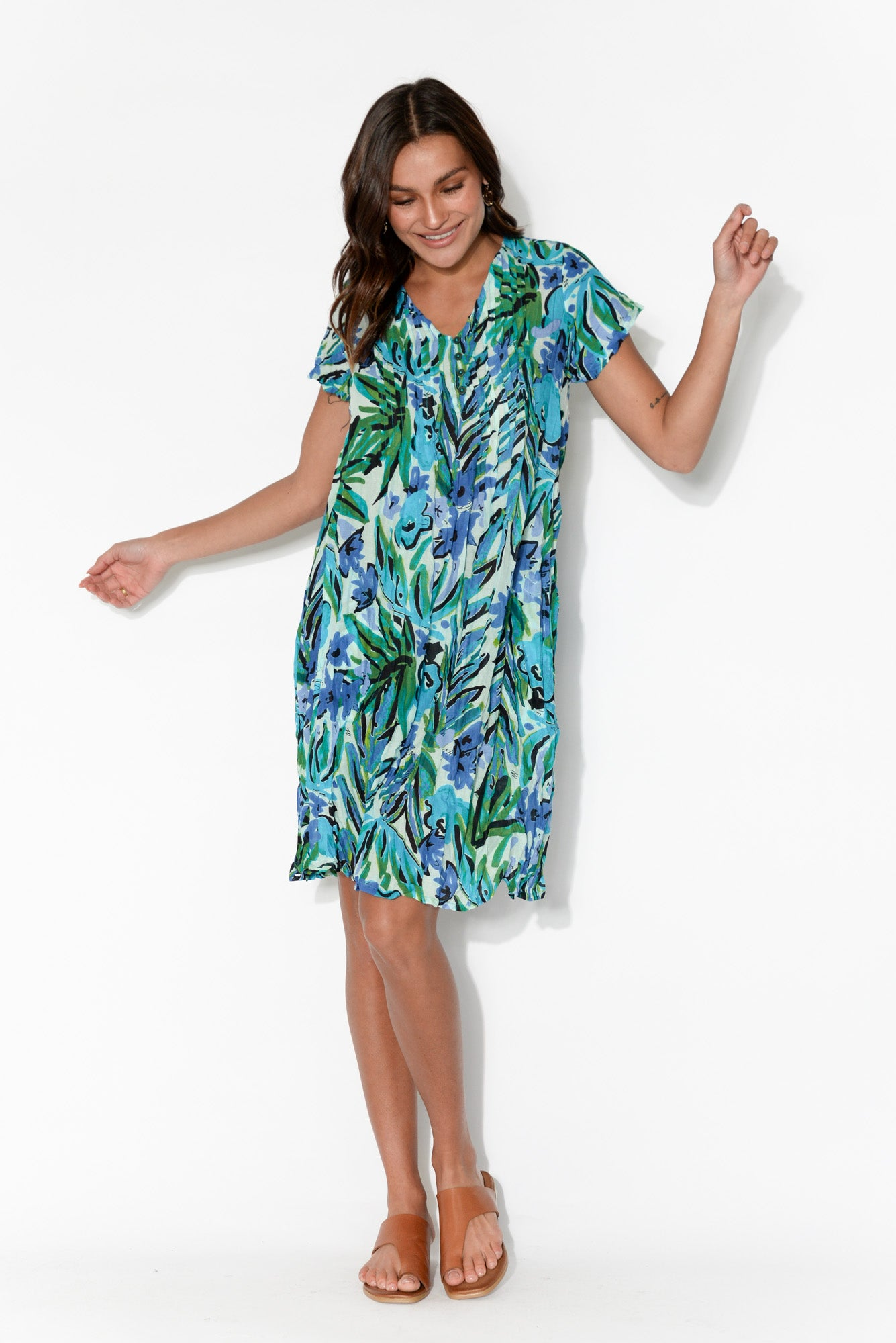 Sabina Blue Floral Crinkle Cotton Dress