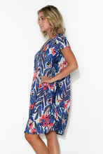 Sabina Blue Pink Floral Crinkle Cotton Dress