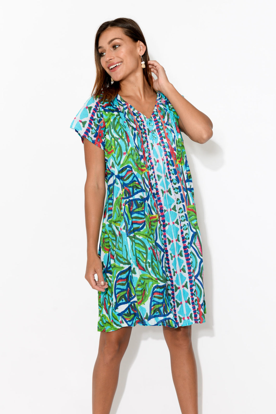Sabina Blue Crinkle Cotton Dress