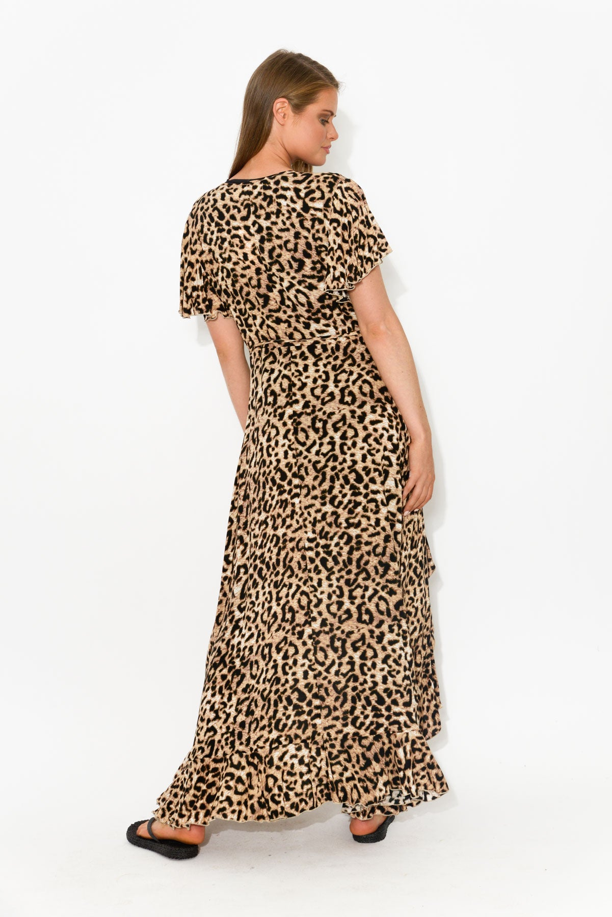 Safari Leopard Wrap Dress - Blue Bungalow