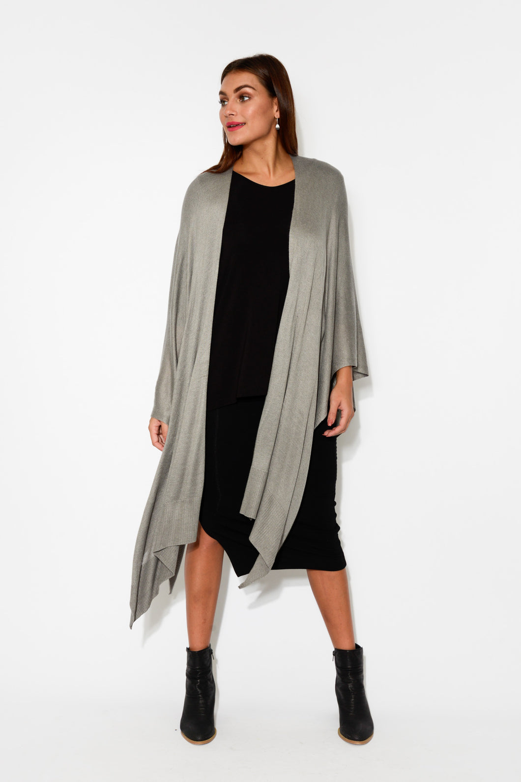 Sage Grey Bamboo Cashmere Knit Wrap - Blue Bungalow