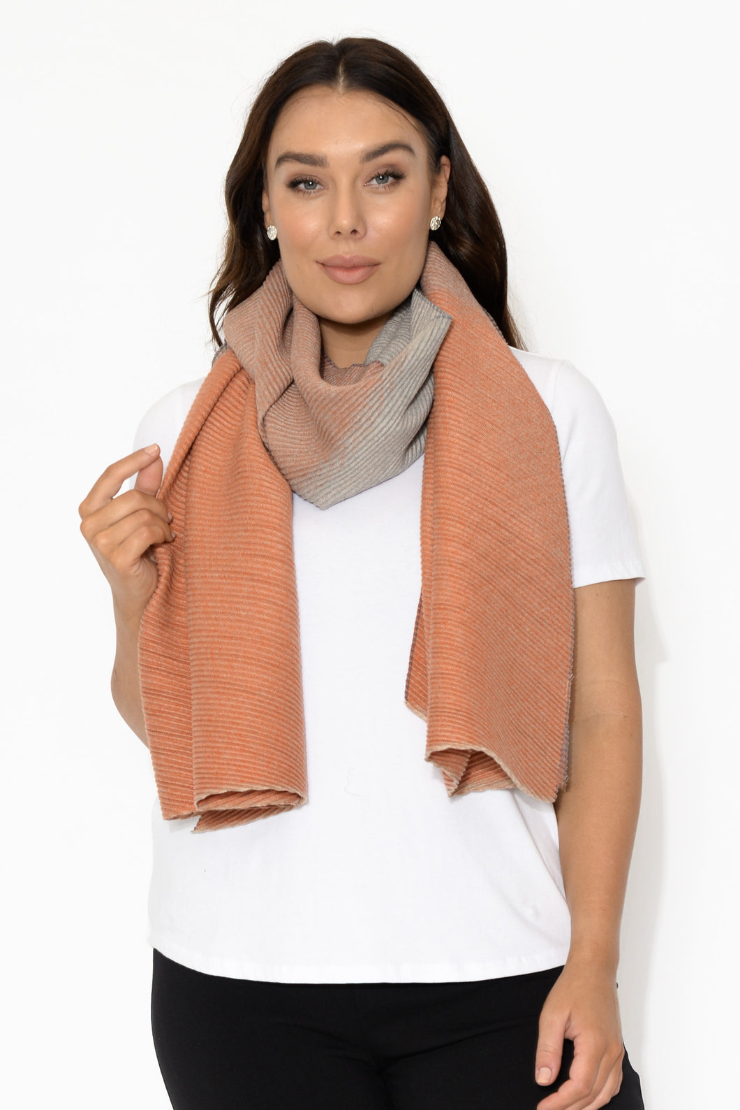 Salmon and Grey Zermatt Scarf