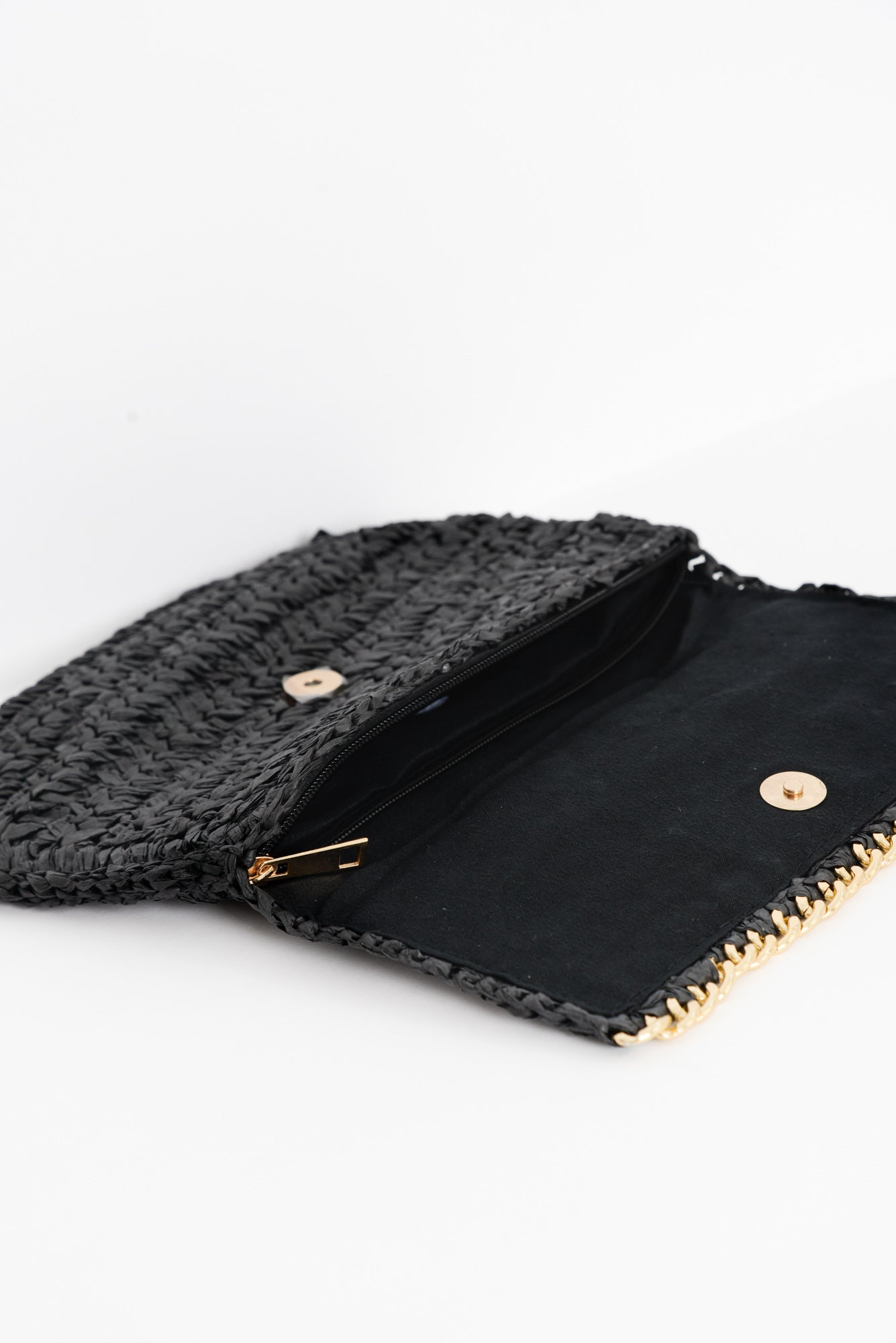 Santorini Black Straw Clutch