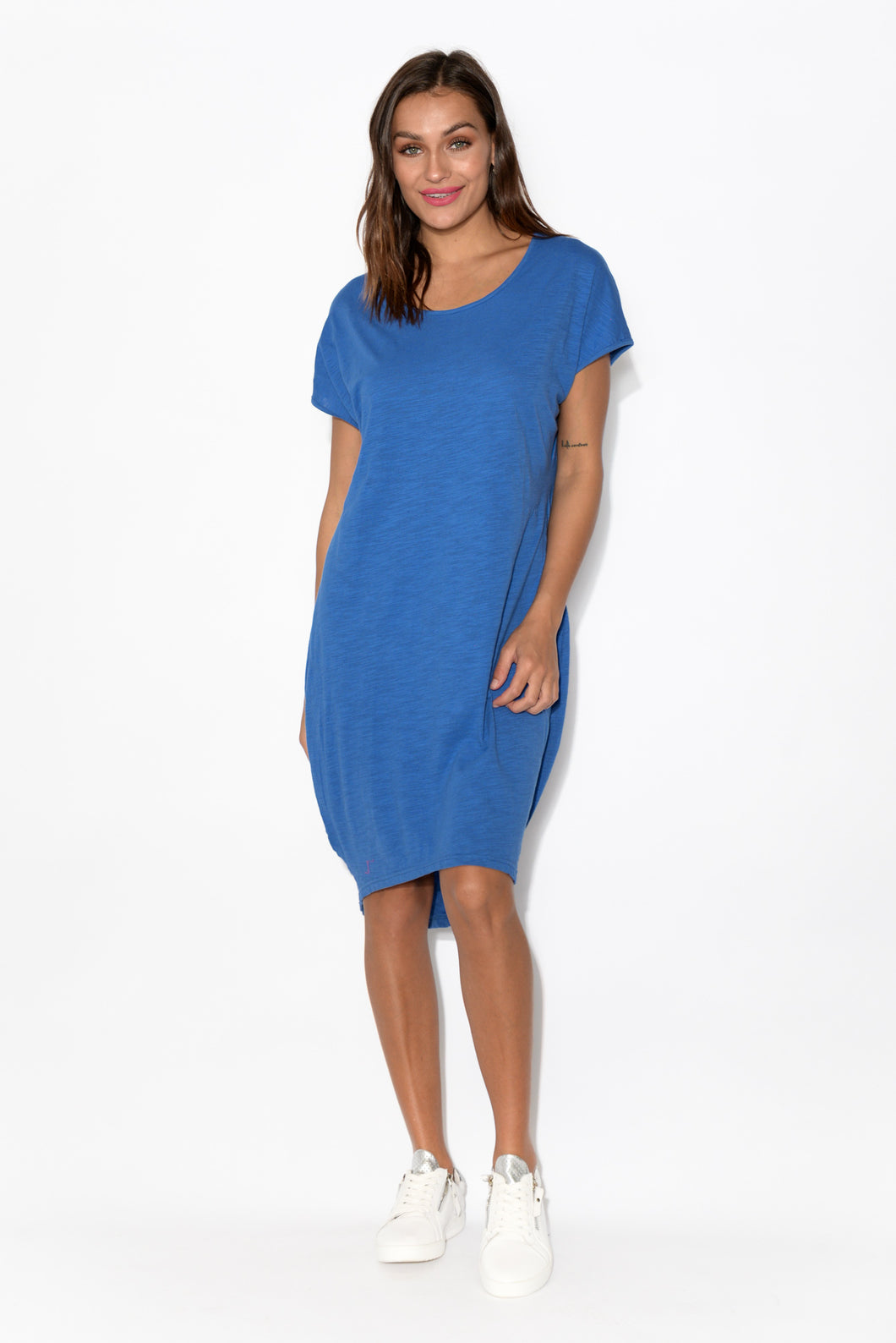 Santos Blue Cotton Slub Tulip Dress