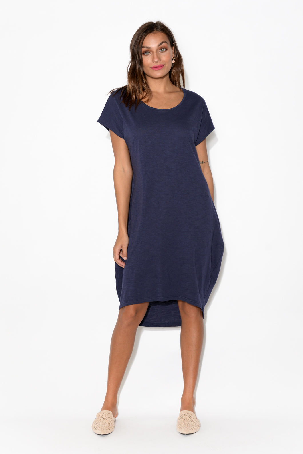 Santos Navy Cotton Slub Tulip Dress