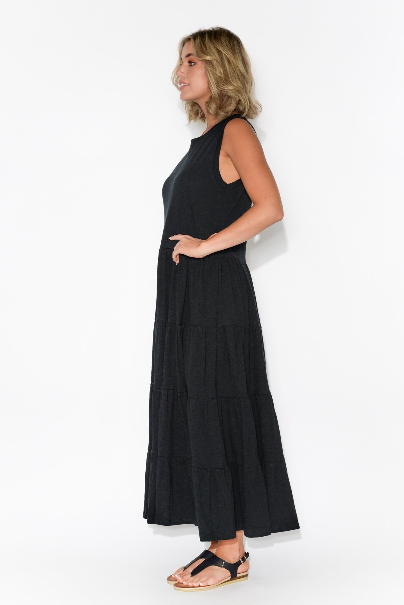 Saskia Black Cotton Tiered Maxi Dress