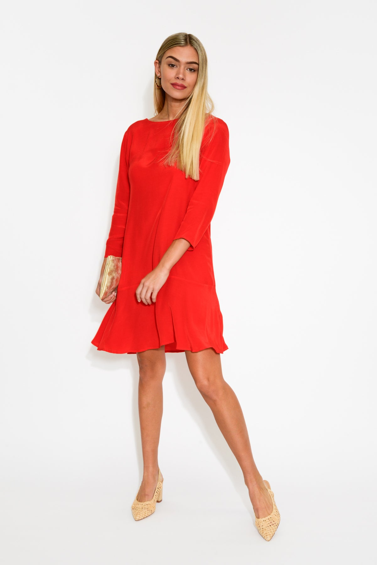 Scarlet Red Flounce Dress - Blue Bungalow