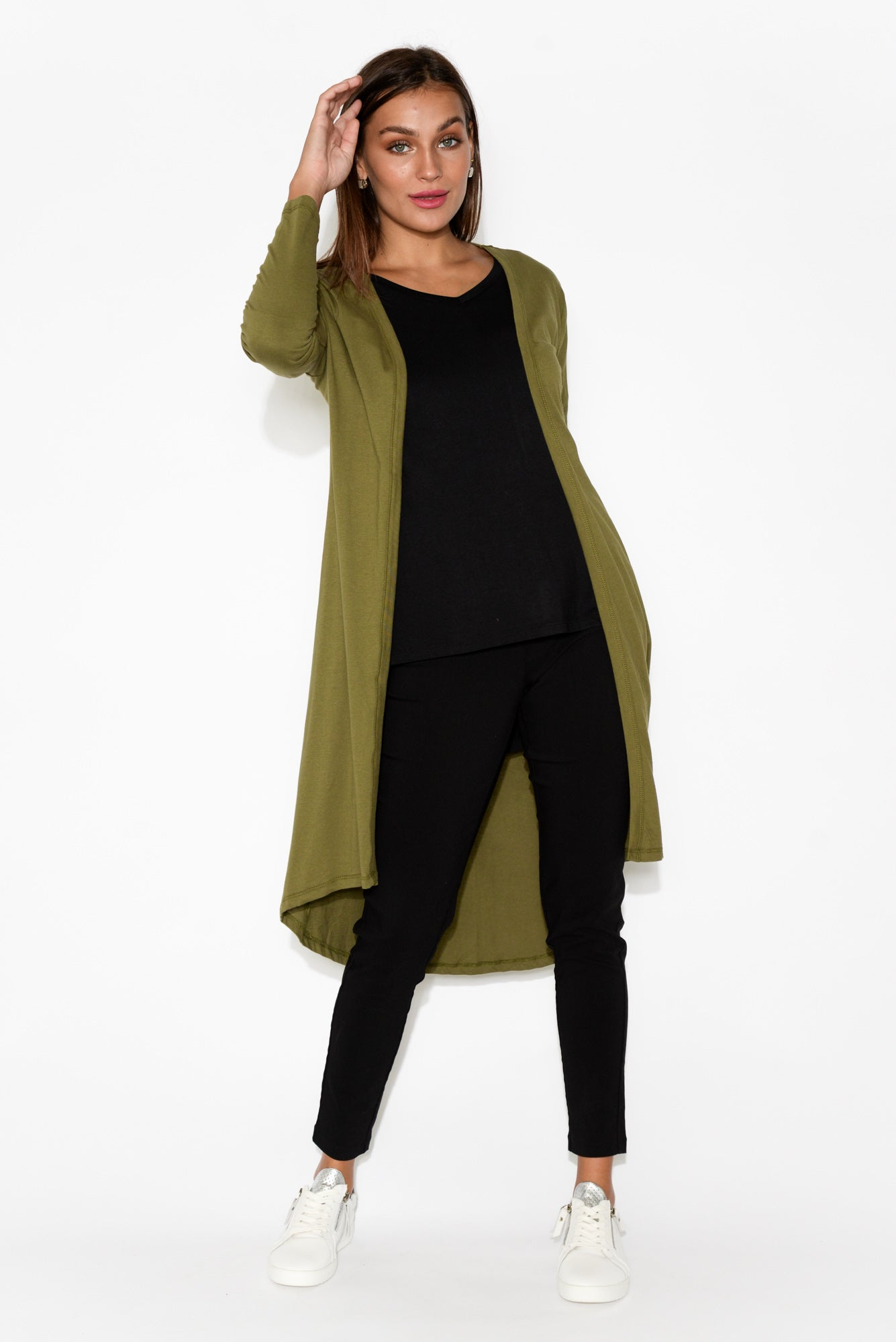 Scarlett Khaki Cotton Cardigan