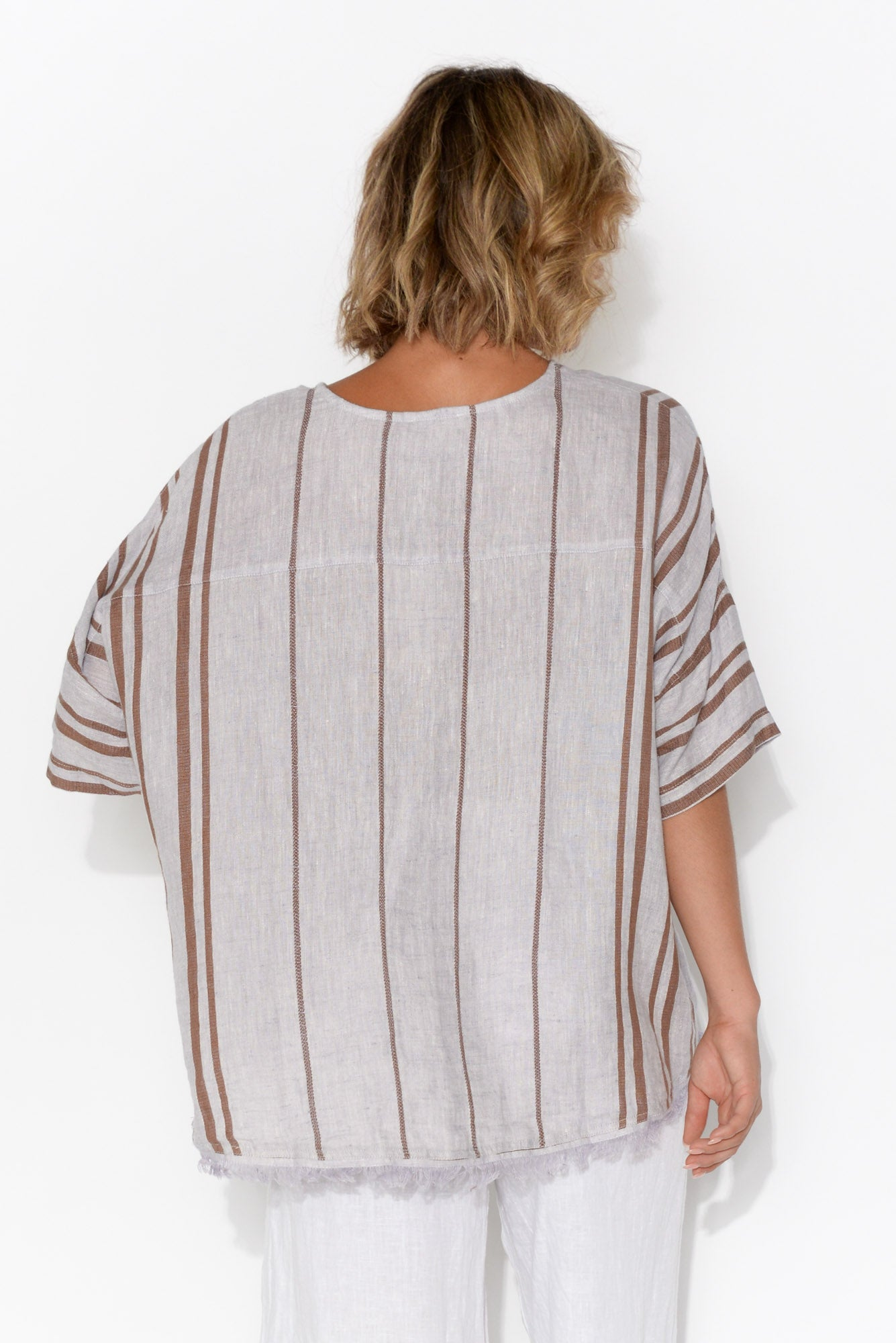 Scout Linen Rust Stripe Fringe Top