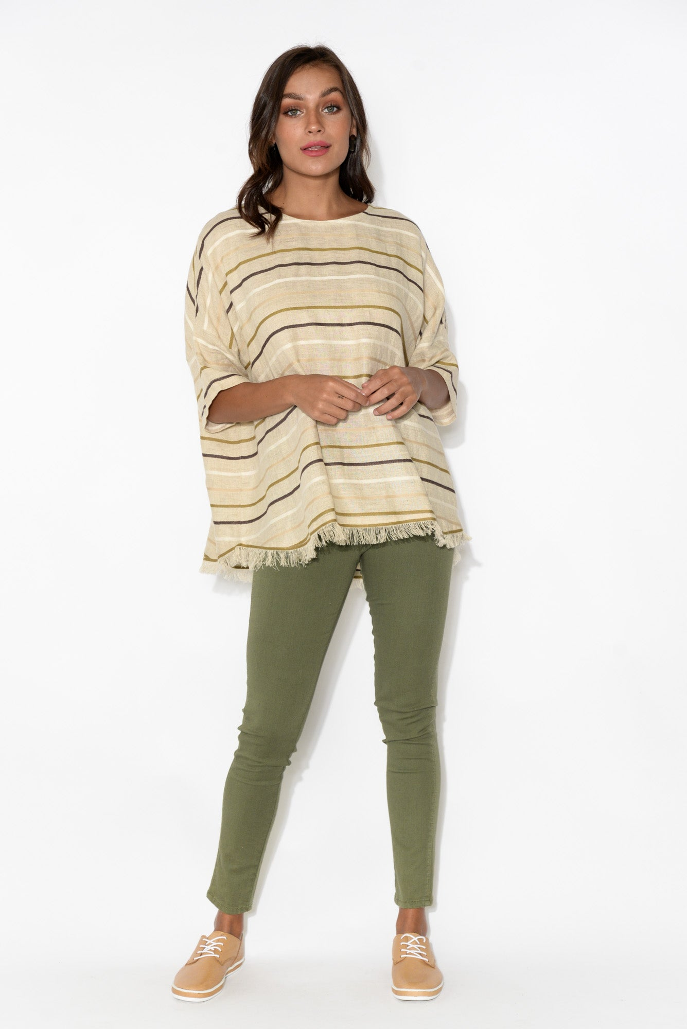 Scout Natural Stripe Linen Top