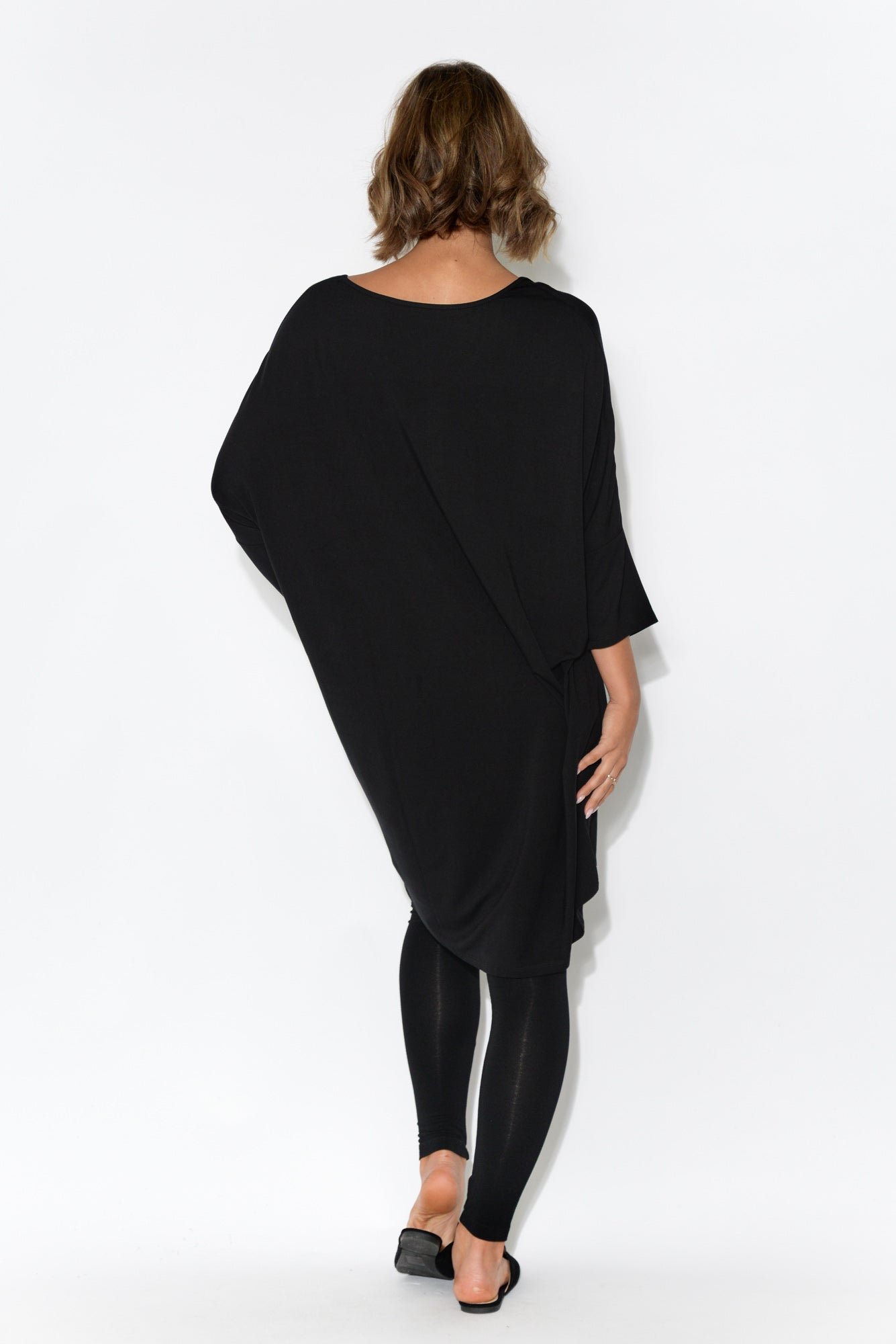 Selena Black Slouch Bamboo Dress