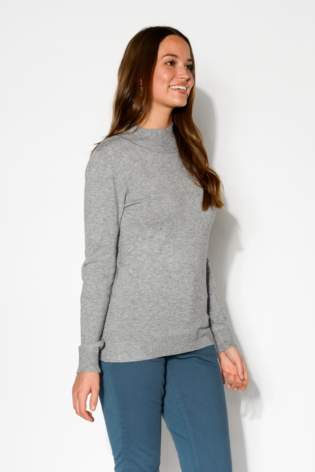 Sharni Grey Knit Top - Blue Bungalow