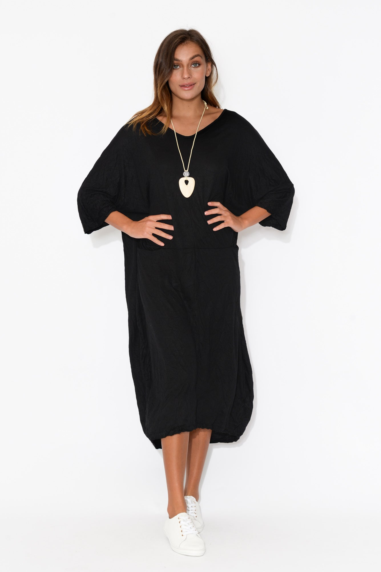 Shay Black Crinkle Cotton Midi Dress