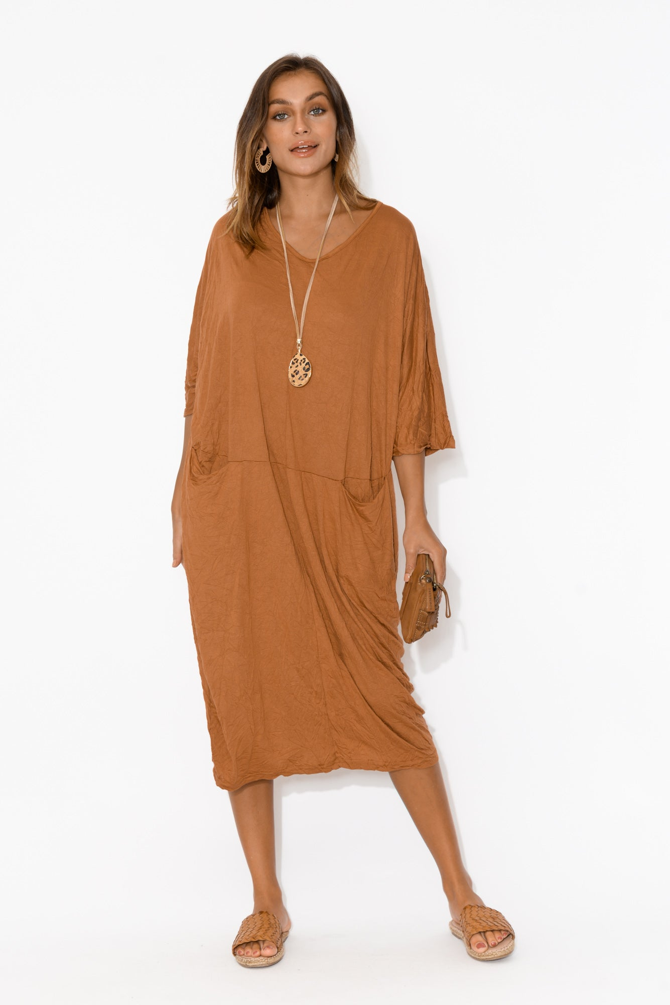 Shay Rust Crinkle Cotton Midi Dress